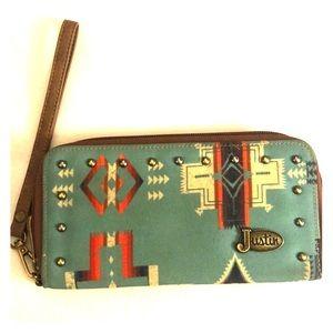 Justin Wallet Clutch Credit Card Holder w/Zipper